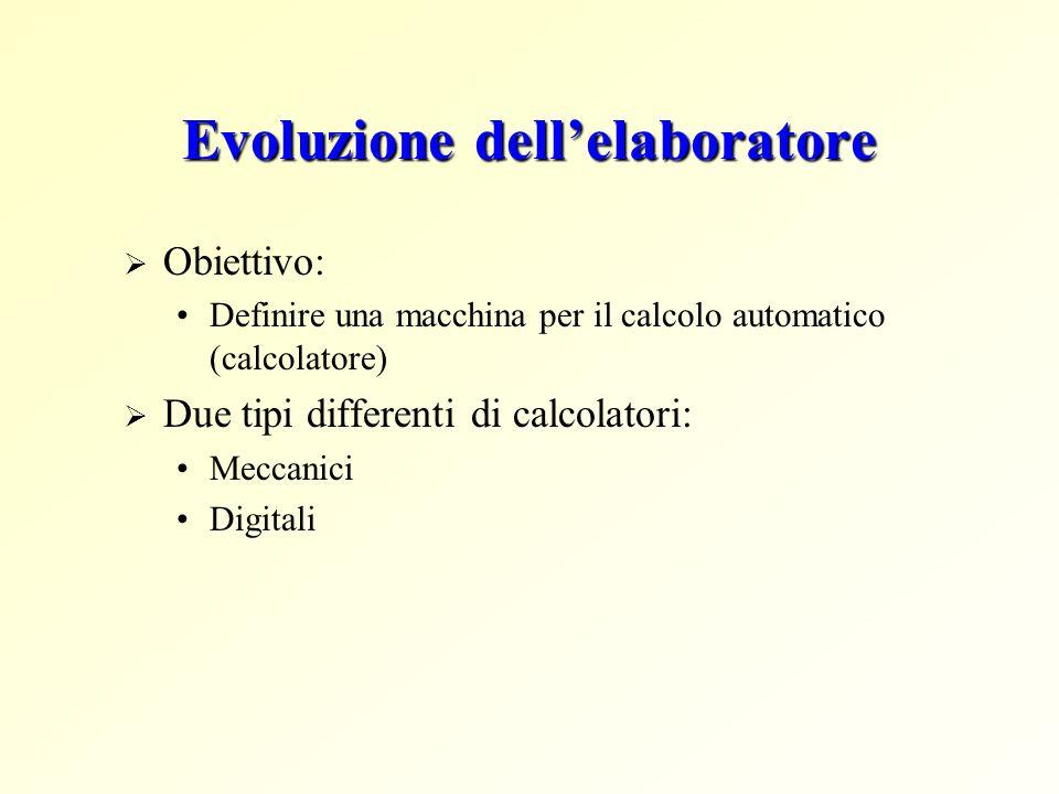 Evoluzione dellelaboratore Obiettivo: Definire una macchina per il calcolo automatico (calcolatore) Due tipi differenti di calcolatori: Meccanici Digi
