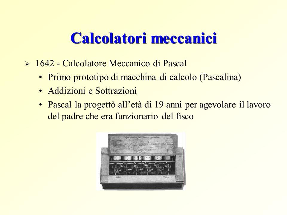 Calcolatori meccanici 1642 - Calcolatore Meccanico di Pascal Primo prototipo di macchina di calcolo (Pascalina) Addizioni e Sottrazioni Pascal la prog