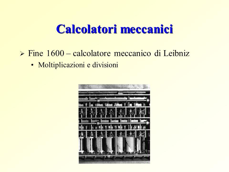 Calcolatori meccanici Fine 1600 – calcolatore meccanico di Leibniz Moltiplicazioni e divisioni