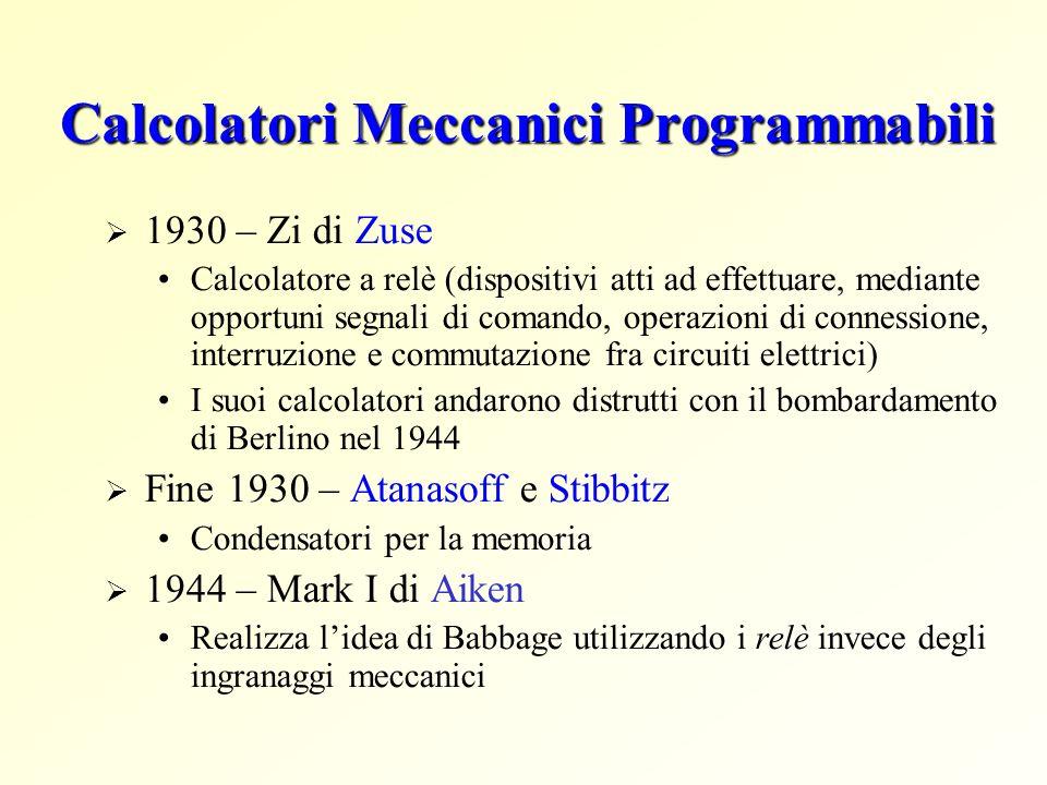 Calcolatori Meccanici Programmabili 1930 – Zi di Zuse Calcolatore a relè (dispositivi atti ad effettuare, mediante opportuni segnali di comando, opera