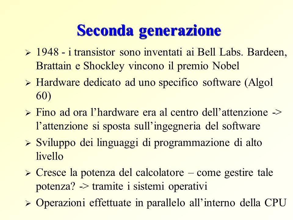 Seconda generazione 1948 - i transistor sono inventati ai Bell Labs. Bardeen, Brattain e Shockley vincono il premio Nobel Hardware dedicato ad uno spe