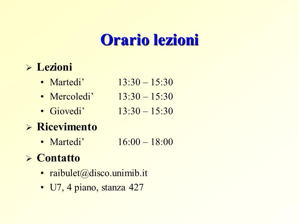 Orario lezioni Lezioni Martedi 13:30 – 15:30 Mercoledi 13:30 – 15:30 Giovedi 13:30 – 15:30 Ricevimento Martedi 16:00 – 18:00 Contatto raibulet@disco.unimib.it U7, 4 piano, stanza 427