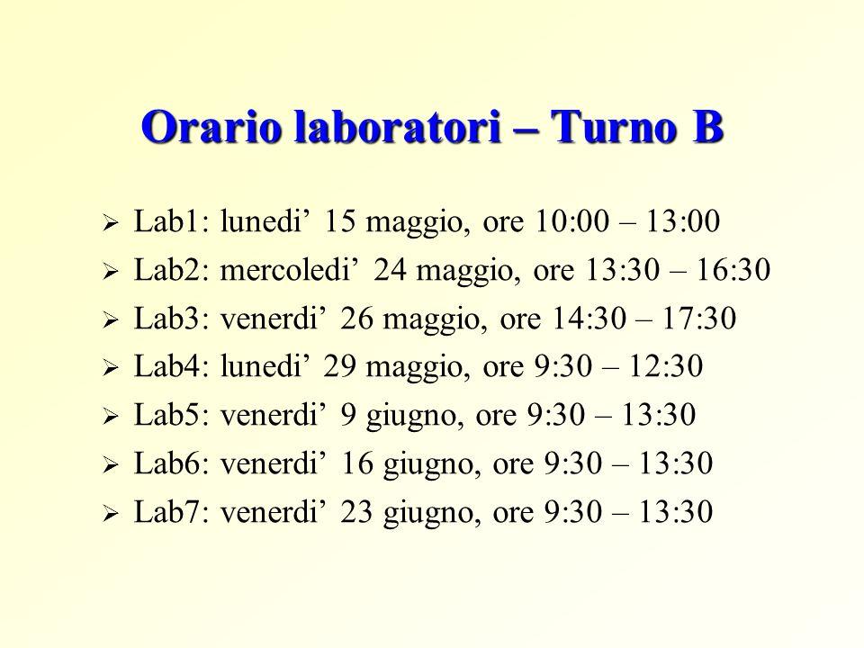 Orario laboratori – Turno B Lab1: lunedi 15 maggio, ore 10:00 – 13:00 Lab2: mercoledi 24 maggio, ore 13:30 – 16:30 Lab3: venerdi 26 maggio, ore 14:30 – 17:30 Lab4: lunedi 29 maggio, ore 9:30 – 12:30 Lab5: venerdi 9 giugno, ore 9:30 – 13:30 Lab6: venerdi 16 giugno, ore 9:30 – 13:30 Lab7: venerdi 23 giugno, ore 9:30 – 13:30