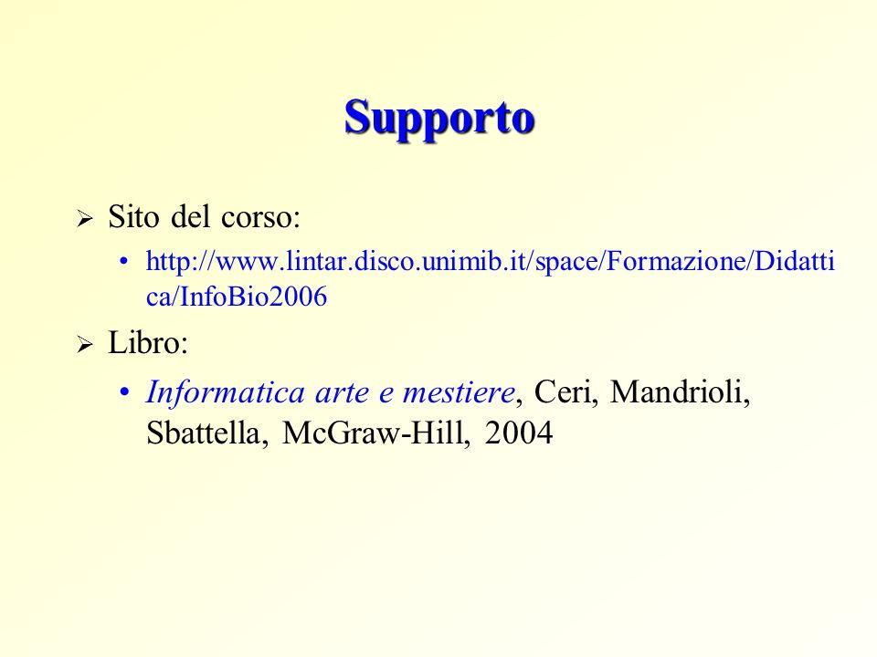 Supporto Sito del corso: http://www.lintar.disco.unimib.it/space/Formazione/Didatti ca/InfoBio2006 Libro: Informatica arte e mestiere, Ceri, Mandrioli