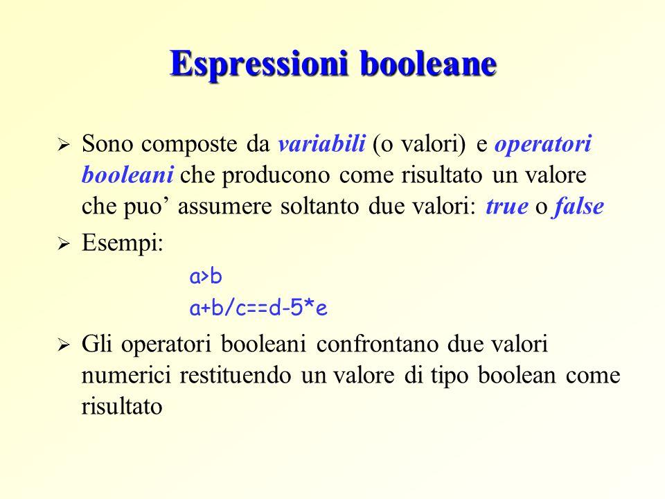 Espressioni booleane Sono composte da variabili (o valori) e operatori booleani che producono come risultato un valore che puo assumere soltanto due v