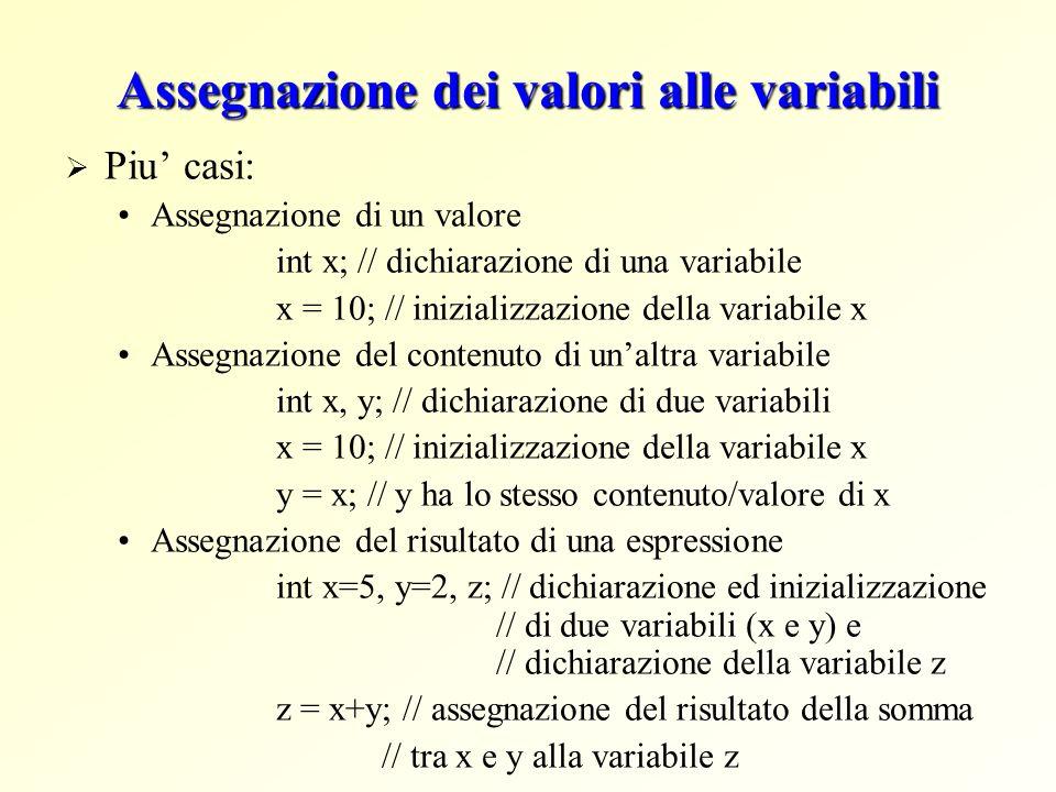 Assegnazione dei valori alle variabili Piu casi: Assegnazione di un valore int x; // dichiarazione di una variabile x = 10; // inizializzazione della