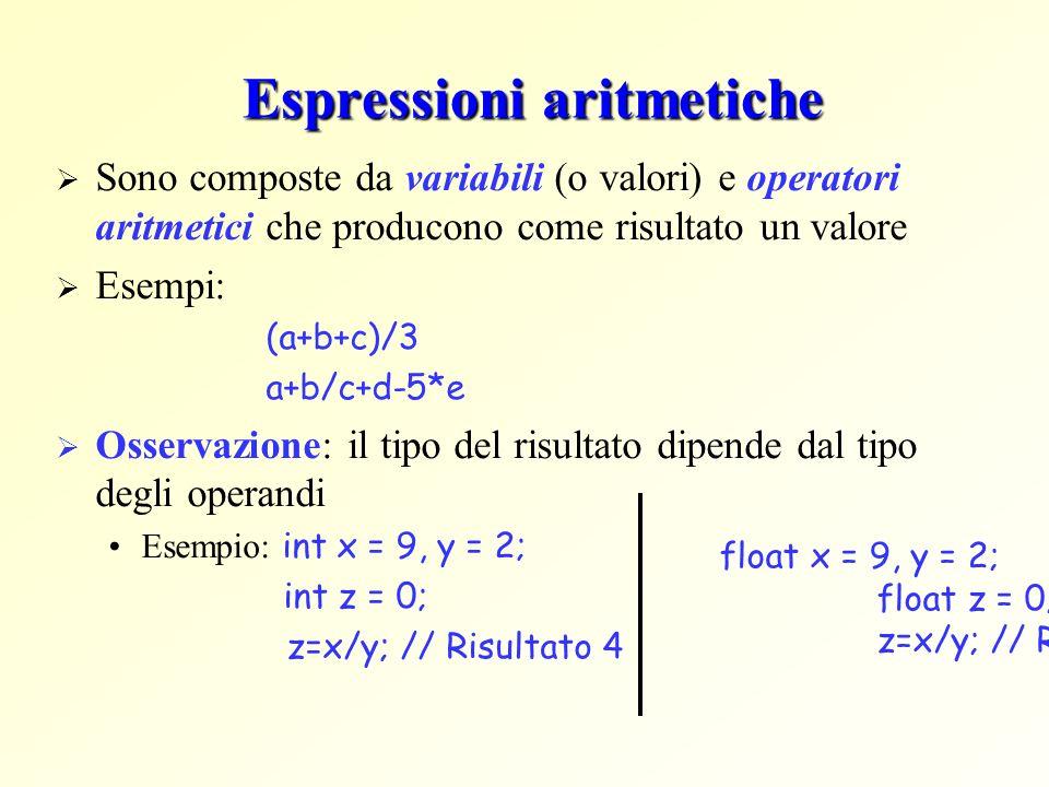 Espressioni aritmetiche Sono composte da variabili (o valori) e operatori aritmetici che producono come risultato un valore Esempi: (a+b+c)/3 a+b/c+d-