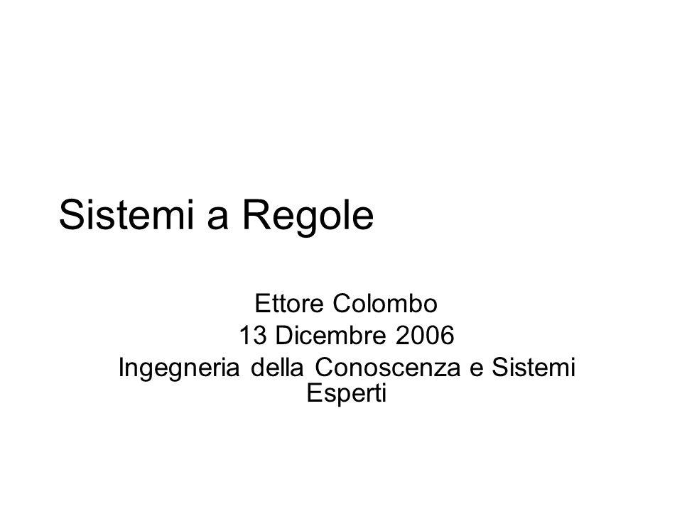Sistemi a Regole Ettore Colombo 13 Dicembre 2006 Ingegneria della Conoscenza e Sistemi Esperti