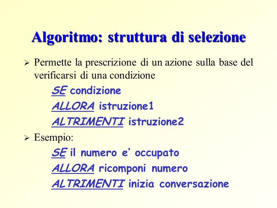 Algoritmo: struttura di selezione Permette la prescrizione di un azione sulla base del verificarsi di una condizione SE condizione ALLORA istruzione1 ALTRIMENTI istruzione2 Esempio: SE il numero e occupato ALLORA ricomponi numero ALTRIMENTI inizia conversazione