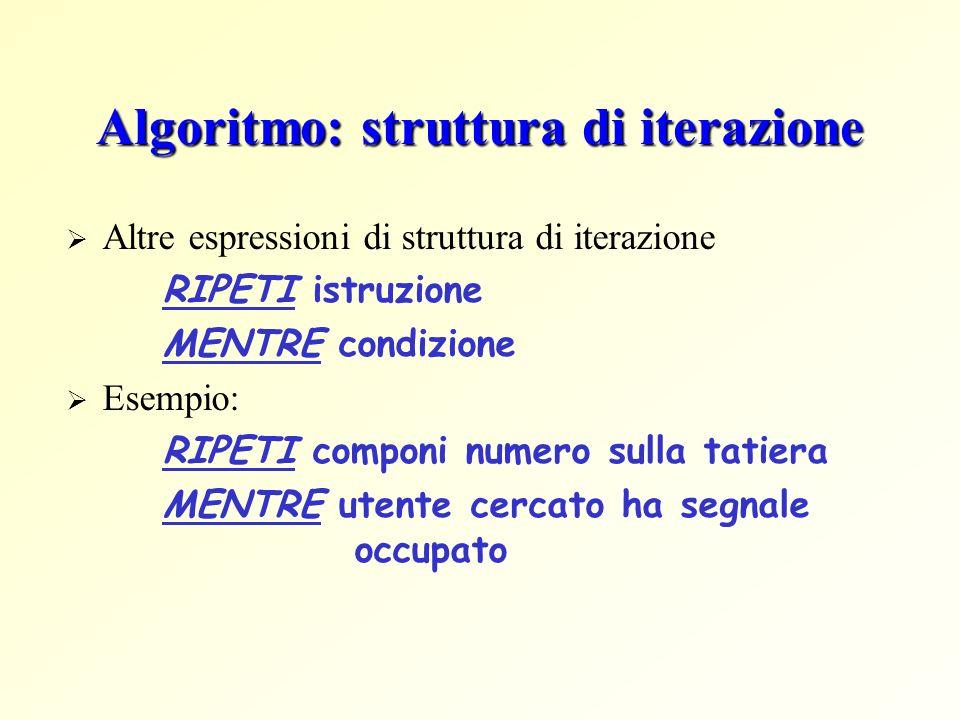 Algoritmo: struttura di iterazione Altre espressioni di struttura di iterazione RIPETI istruzione MENTRE condizione Esempio: RIPETI componi numero sulla tatiera MENTRE utente cercato ha segnale occupato