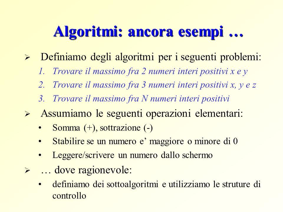 Algoritmi: ancora esempi … Definiamo degli algoritmi per i seguenti problemi: 1.Trovare il massimo fra 2 numeri interi positivi x e y 2.Trovare il massimo fra 3 numeri interi positivi x, y e z 3.Trovare il massimo fra N numeri interi positivi Assumiamo le seguenti operazioni elementari: Somma (+), sottrazione (-) Stabilire se un numero e maggiore o minore di 0 Leggere/scrivere un numero dallo schermo … dove ragionevole: definiamo dei sottoalgoritmi e utilizziamo le struture di controllo