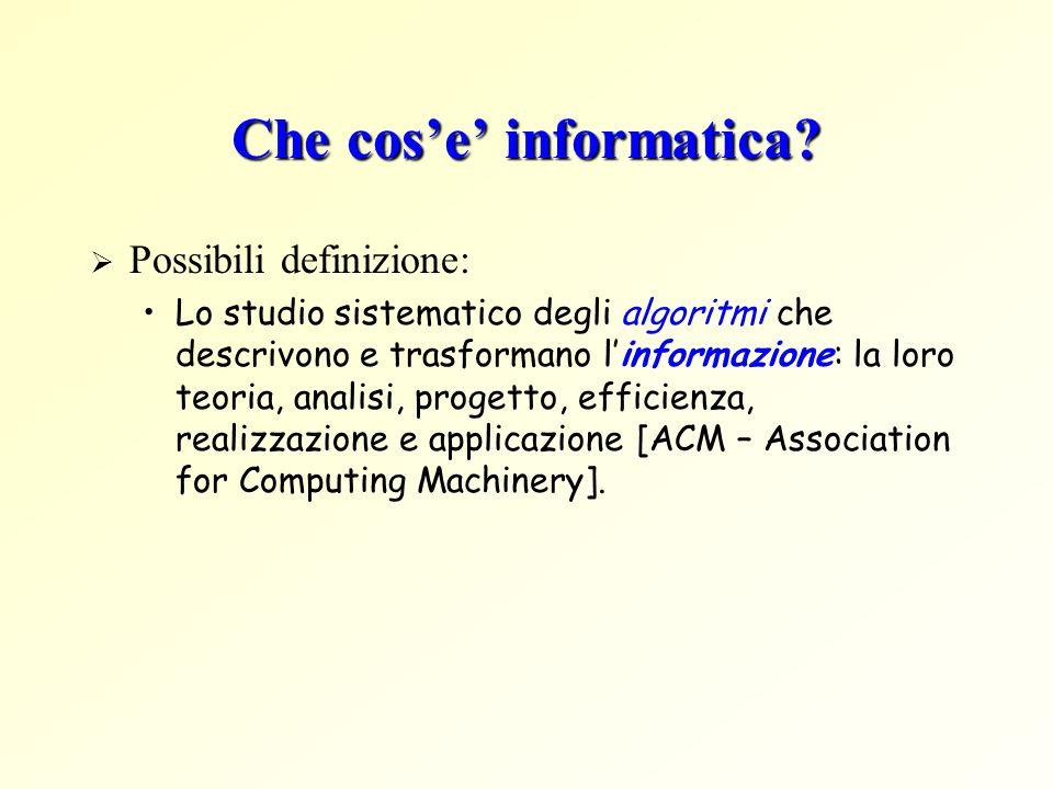 Concetto di informazione Definizioni: DEF1: Informare – dare forma a qualcosa -> eliminare lincertezza, lignoranza DEF2: Aquisizione di contenuto trasferito da un soggetto ad un altro DEF3: un insieme di dati e la loro interpretazione (il dato => elemento di informazione) Esempi di dati: numeri, stringhe, immagini, grafici, suoni, ecc.