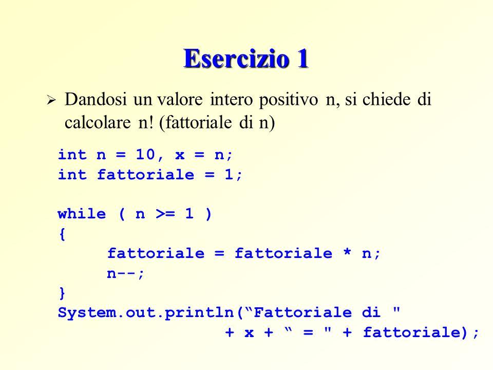 Esercizio 1 Dandosi un valore intero positivo n, si chiede di calcolare n! (fattoriale di n) int n = 10, x = n; int fattoriale = 1; while ( n >= 1 ) {