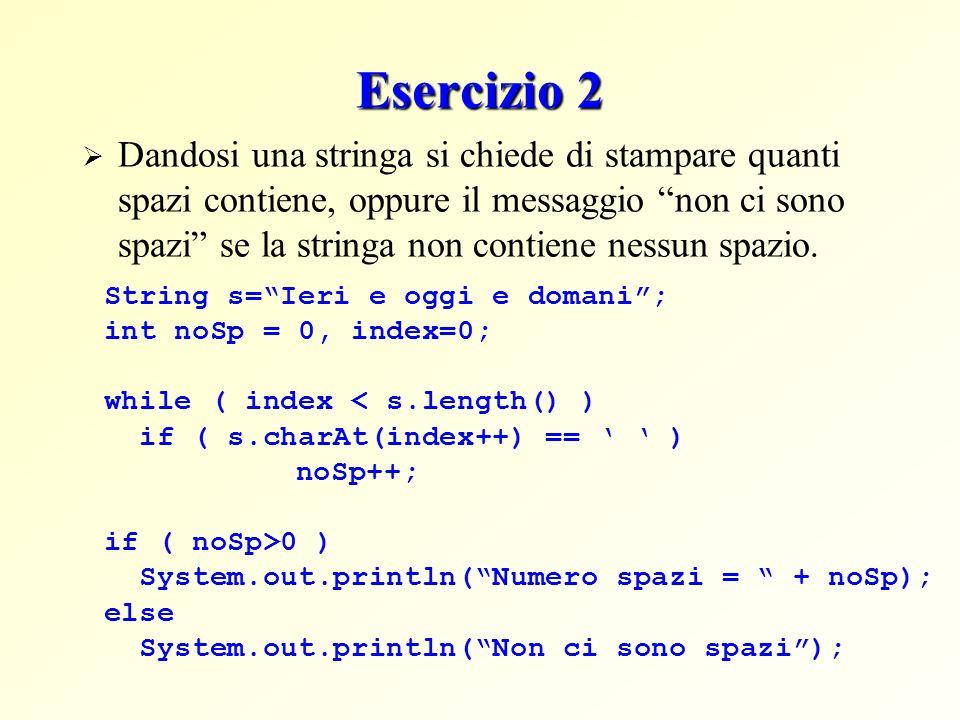 Esercizio 2 Dandosi una stringa si chiede di stampare quanti spazi contiene, oppure il messaggio non ci sono spazi se la stringa non contiene nessun s