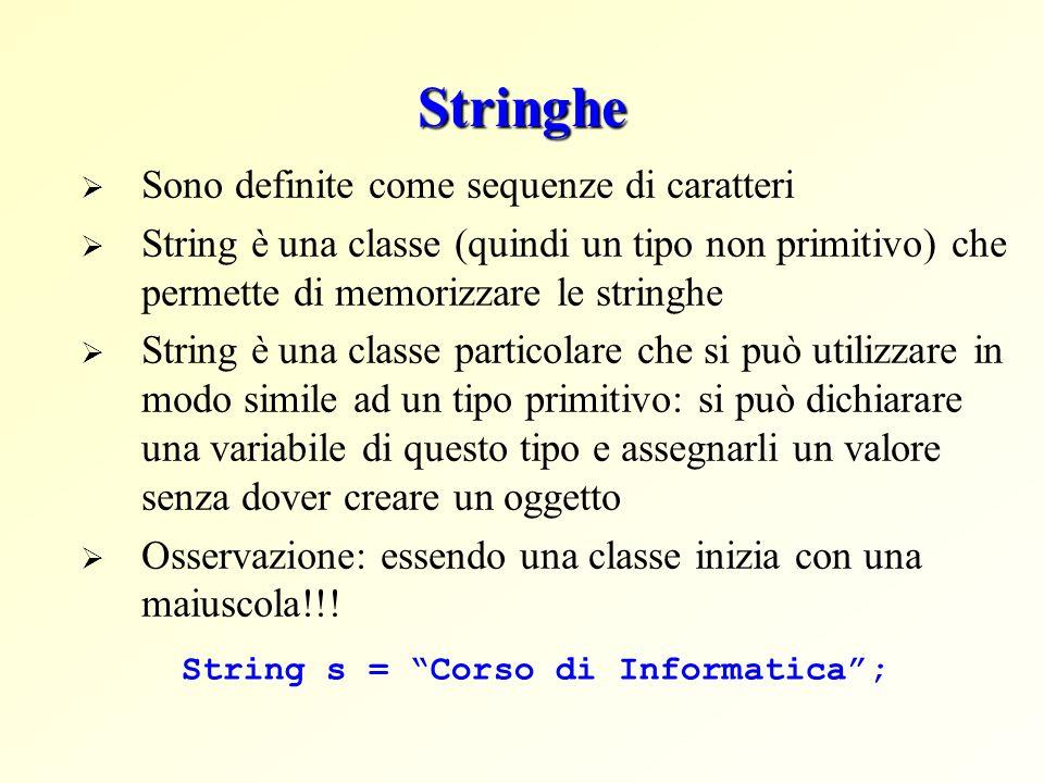 Stringhe Sono definite come sequenze di caratteri String è una classe (quindi un tipo non primitivo) che permette di memorizzare le stringhe String è