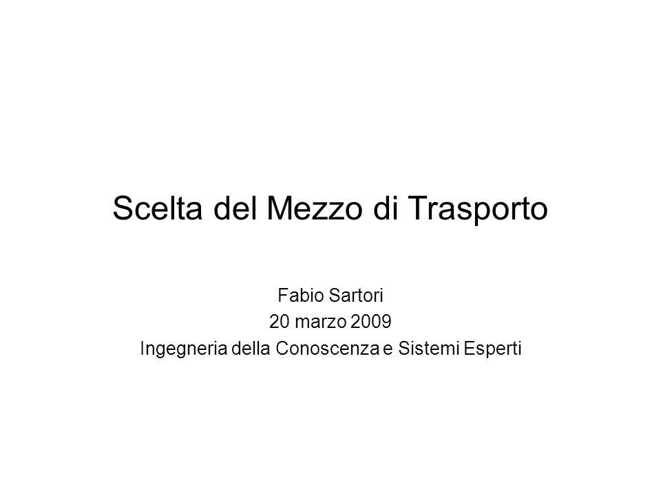 Scelta del Mezzo di Trasporto Fabio Sartori 20 marzo 2009 Ingegneria della Conoscenza e Sistemi Esperti