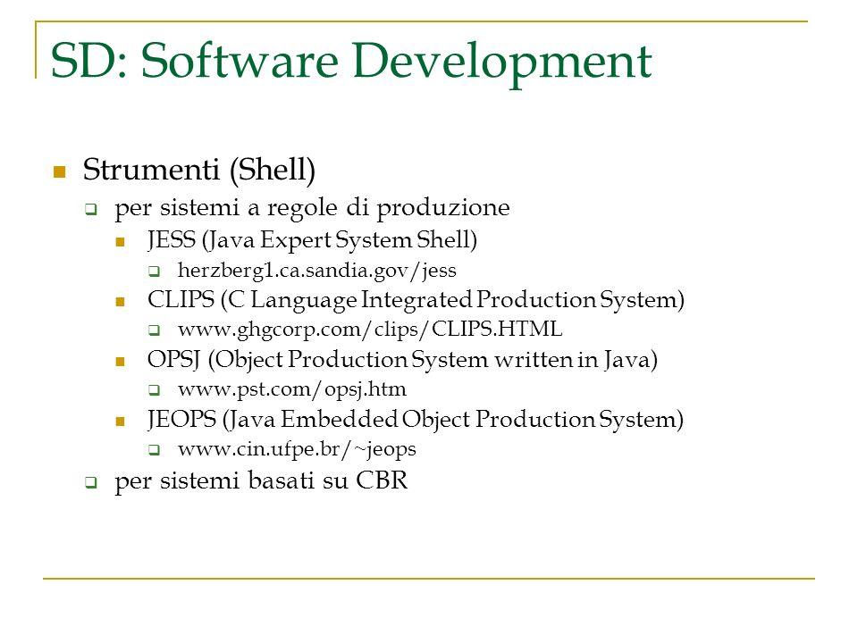 SD: Software Development Strumenti (Shell) per sistemi a regole di produzione JESS (Java Expert System Shell) herzberg1.ca.sandia.gov/jess CLIPS (C La