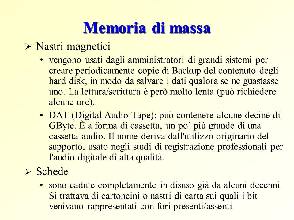 Memoria di massa Nastri magnetici vengono usati dagli amministratori di grandi sistemi per creare periodicamente copie di Backup del contenuto degli h