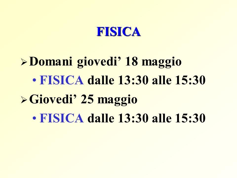 FISICA Domani giovedi 18 maggio FISICA dalle 13:30 alle 15:30 Giovedi 25 maggio FISICA dalle 13:30 alle 15:30