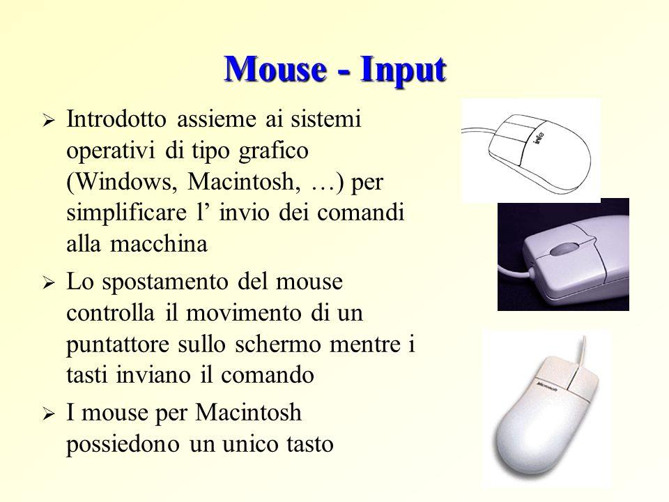 Mouse - Input Introdotto assieme ai sistemi operativi di tipo grafico (Windows, Macintosh, …) per simplificare l invio dei comandi alla macchina Lo sp