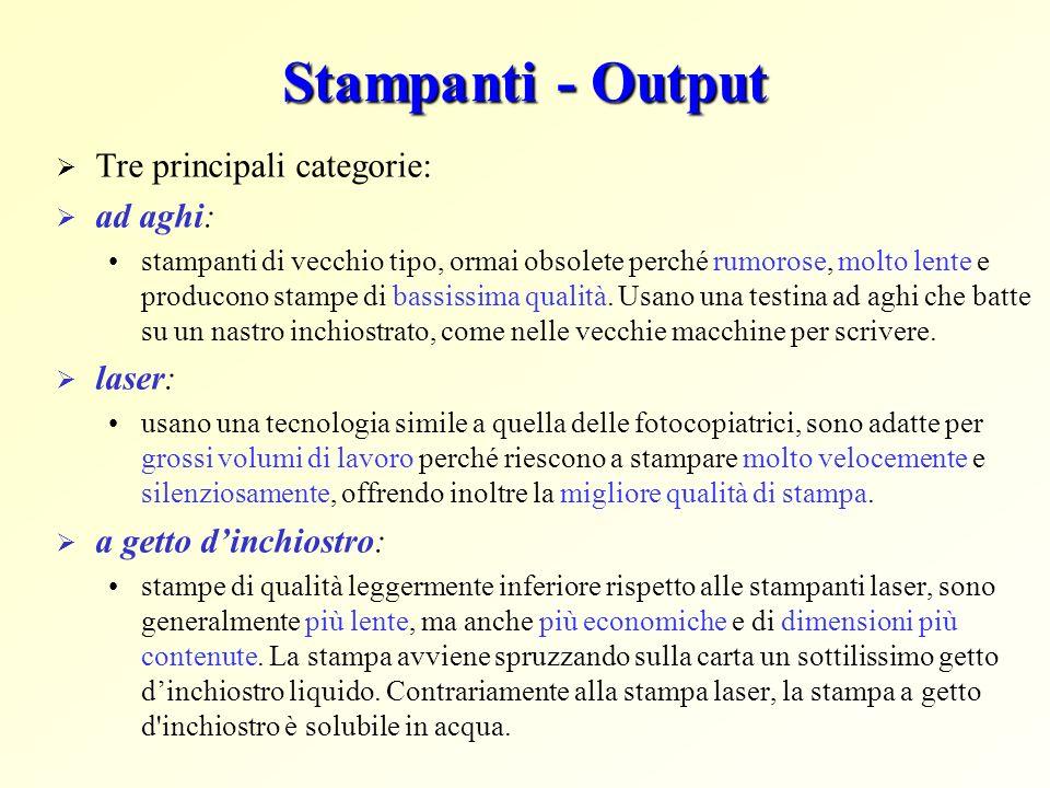 Stampanti - Output Tre principali categorie: ad aghi: stampanti di vecchio tipo, ormai obsolete perché rumorose, molto lente e producono stampe di bas