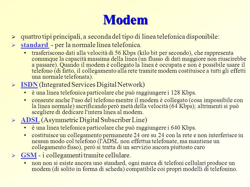 Modem quattro tipi principali, a seconda del tipo di linea telefonica disponibile: standard - per la normale linea telefonica. trasferiscono dati alla