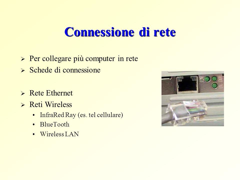 Connessione di rete Per collegare più computer in rete Schede di connessione Rete Ethernet Reti Wireless InfraRed Ray (es. tel cellulare) BlueTooth Wi