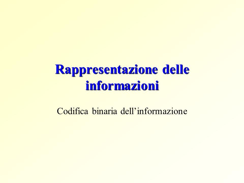 Rappresentazione delle informazioni Codifica binaria dellinformazione