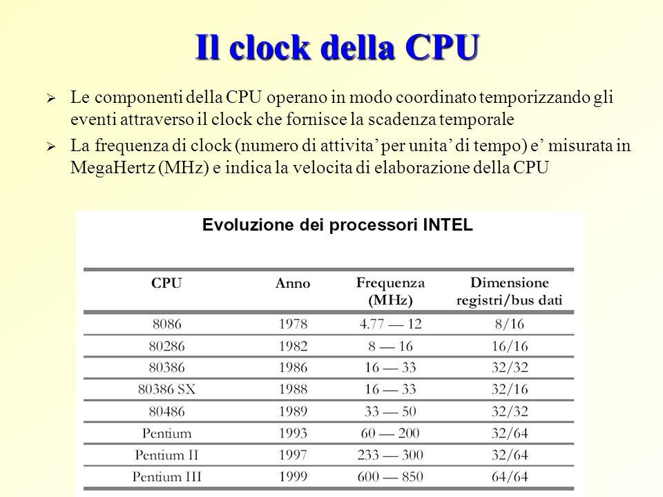 Il clock della CPU Le componenti della CPU operano in modo coordinato temporizzando gli eventi attraverso il clock che fornisce la scadenza temporale