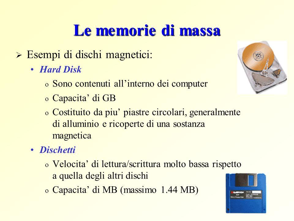 Le memorie di massa Esempi di dischi magnetici: Hard Disk o Sono contenuti allinterno dei computer o Capacita di GB o Costituito da piu piastre circol