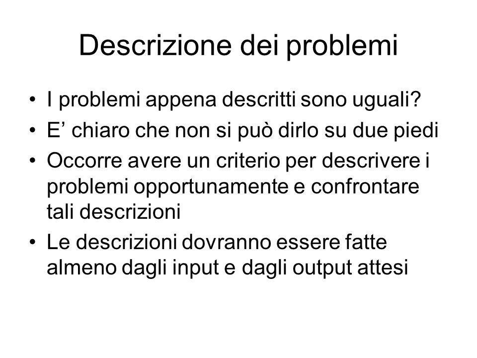 Descrizione dei problemi I problemi appena descritti sono uguali.