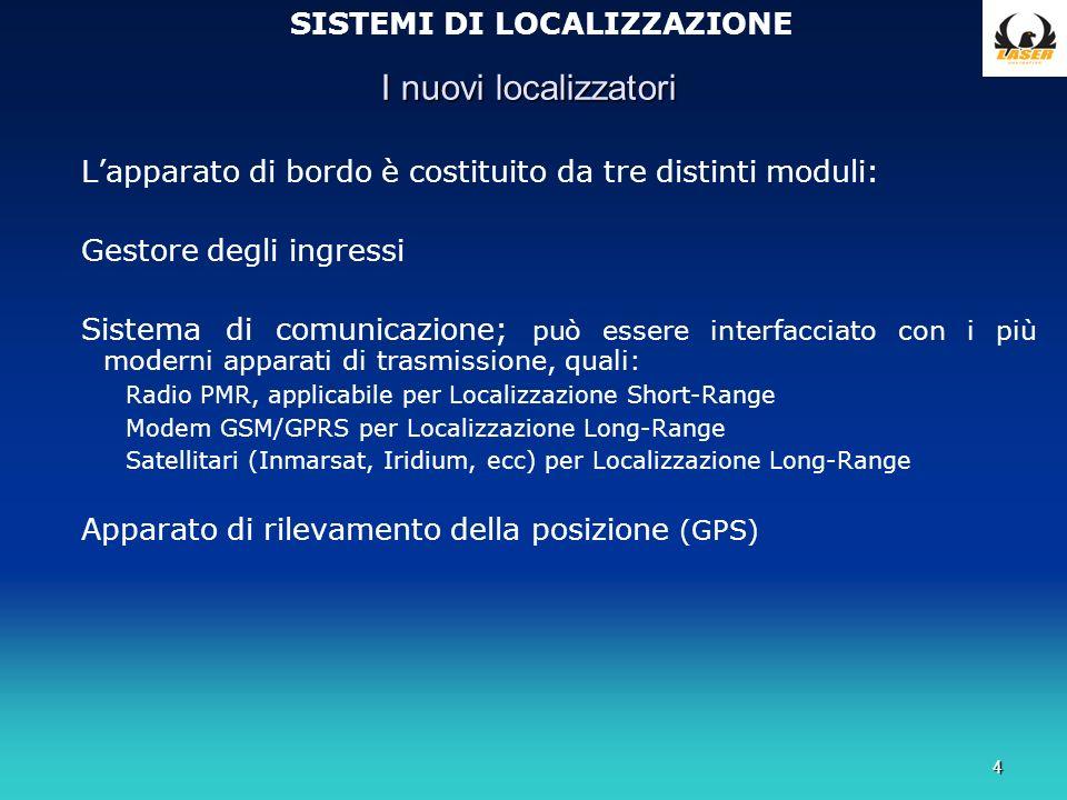 4 I nuovi localizzatori SISTEMI DI LOCALIZZAZIONE Lapparato di bordo è costituito da tre distinti moduli: Gestore degli ingressi Sistema di comunicazione; può essere interfacciato con i più moderni apparati di trasmissione, quali: Radio PMR, applicabile per Localizzazione Short-Range Modem GSM/GPRS per Localizzazione Long-Range Satellitari (Inmarsat, Iridium, ecc) per Localizzazione Long-Range Apparato di rilevamento della posizione (GPS)