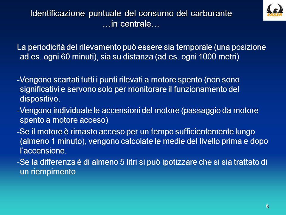 6 Identificazione puntuale del consumo del carburante …in centrale… La periodicità del rilevamento può essere sia temporale (una posizione ad es.