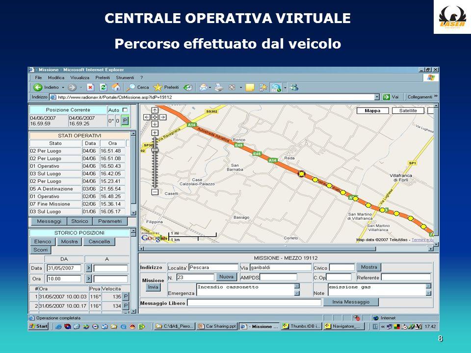 8 CENTRALE OPERATIVA VIRTUALE Percorso effettuato dal veicolo