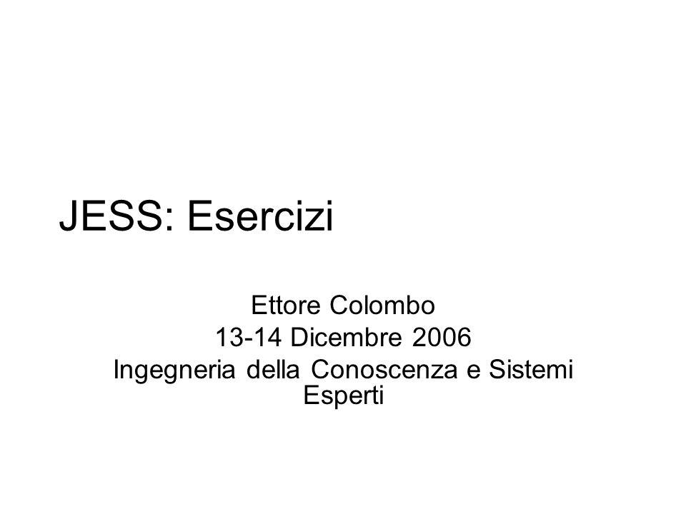 JESS: Esercizi Ettore Colombo 13-14 Dicembre 2006 Ingegneria della Conoscenza e Sistemi Esperti