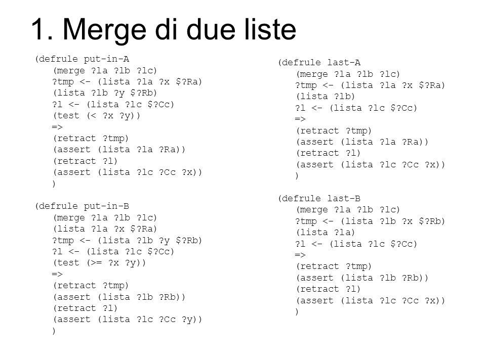 1. Merge di due liste (defrule put-in-A (merge ?la ?lb ?lc) ?tmp <- (lista ?la ?x $?Ra) (lista ?lb ?y $?Rb) ?l <- (lista ?lc $?Cc) (test (< ?x ?y)) =>