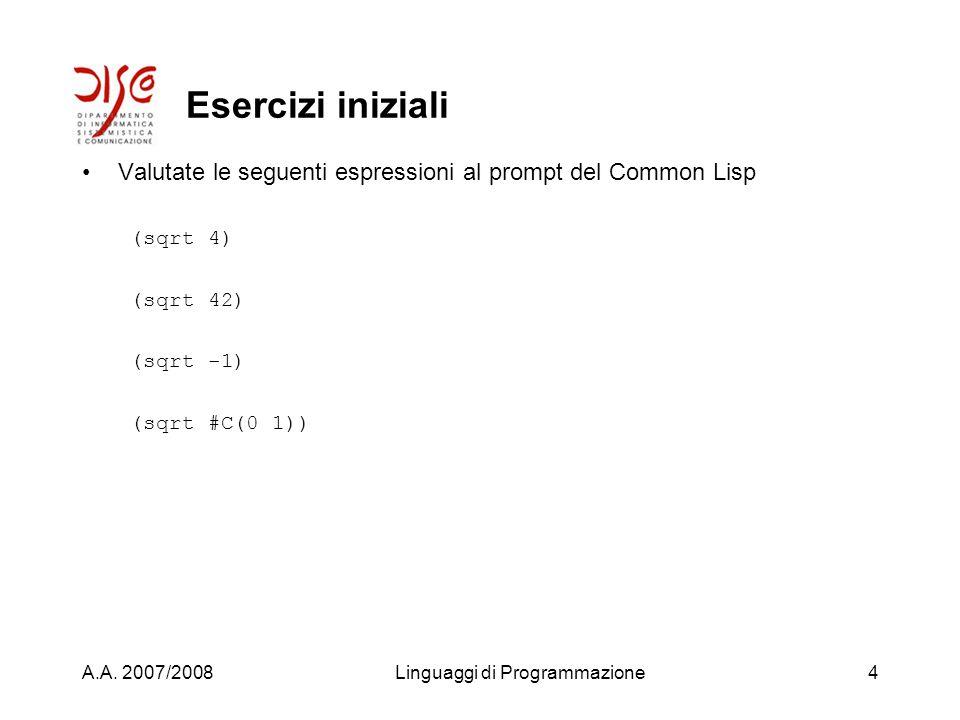 A.A. 2007/2008Linguaggi di Programmazione3 Laboratorio di LISP Usiamo lambiente Lispworks Come si apre Come si interagisce con il sistema Definizioni