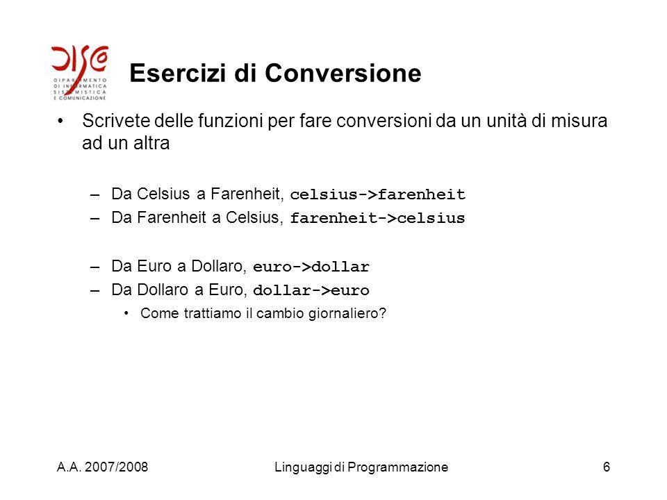 A.A. 2007/2008Linguaggi di Programmazione5 Esercizi iniziali Provate a vedere se il Common Lisp ha funzioni per trovare –Il minimo tra due nuumeri –Il
