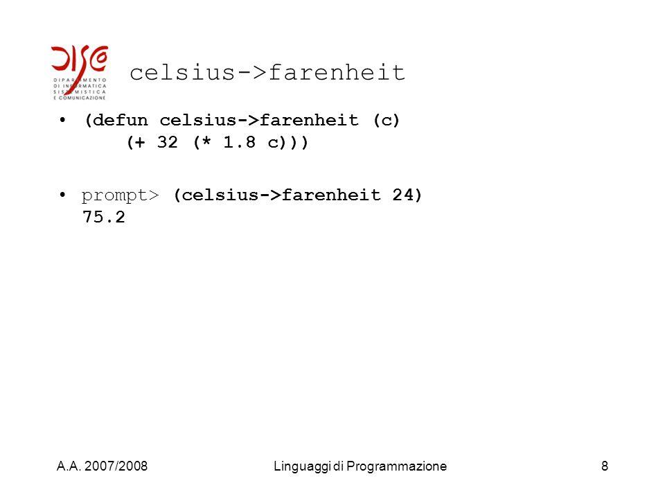 A.A. 2007/2008Linguaggi di Programmazione7 celsius->farenheit CelsiusFarenheit 032 1050 122 100212