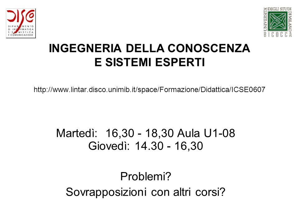 INGEGNERIA DELLA CONOSCENZA E SISTEMI ESPERTI http://www.lintar.disco.unimib.it/space/Formazione/Didattica/ICSE0607 Martedì: 16,30 - 18,30 Aula U1-08