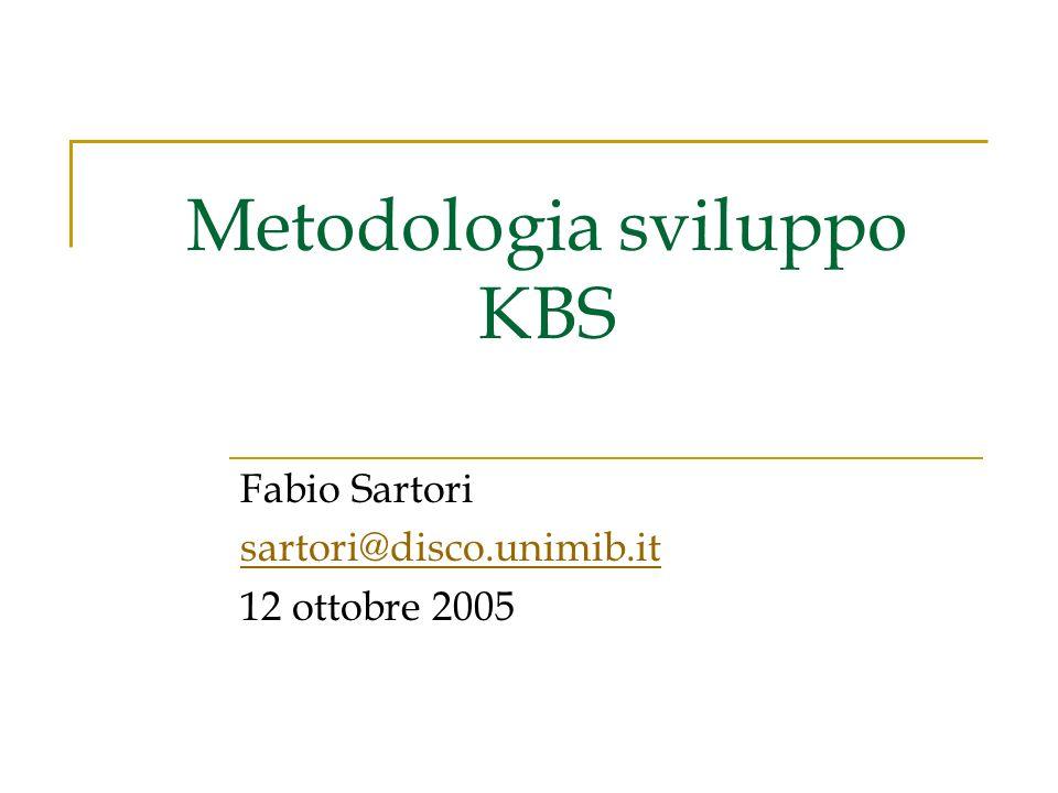 Metodologia sviluppo KBS Fabio Sartori sartori@disco.unimib.it 12 ottobre 2005