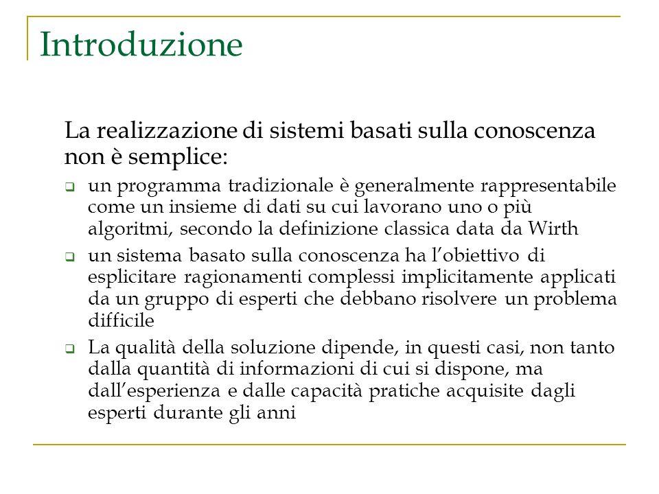 Introduzione La realizzazione di sistemi basati sulla conoscenza non è semplice: un programma tradizionale è generalmente rappresentabile come un insi