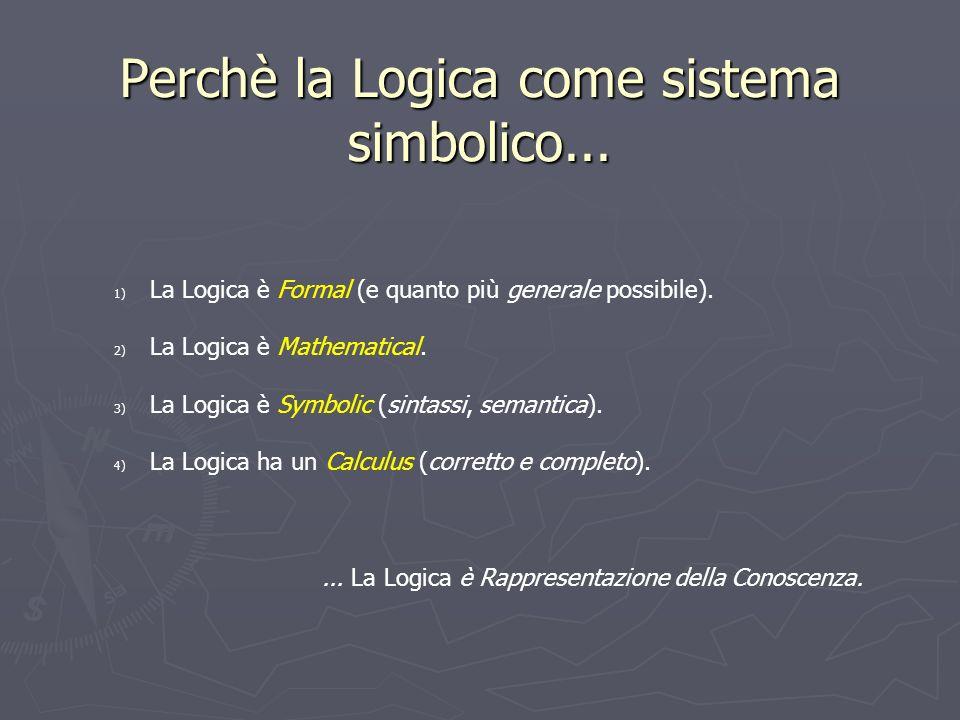 Perchè la Logica come sistema simbolico... 1) La Logica è Formal (e quanto più generale possibile). 2) La Logica è Mathematical. 3) La Logica è Symbol
