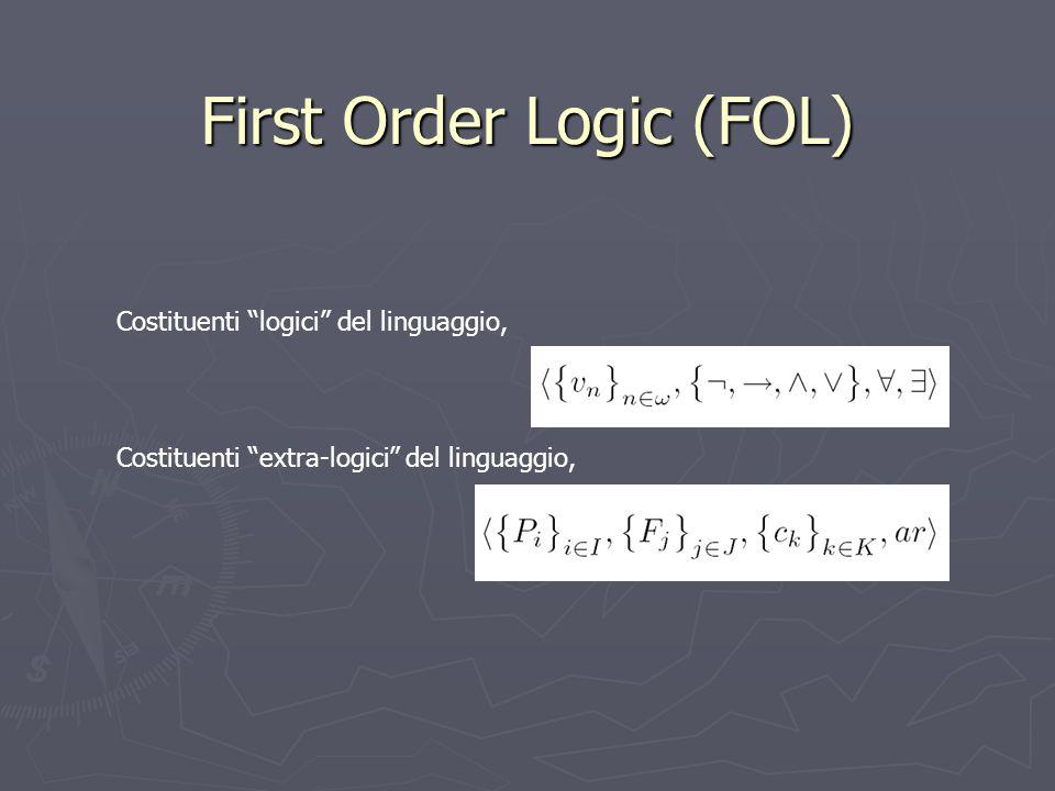 Costituenti logici del linguaggio, Costituenti extra-logici del linguaggio, First Order Logic (FOL)