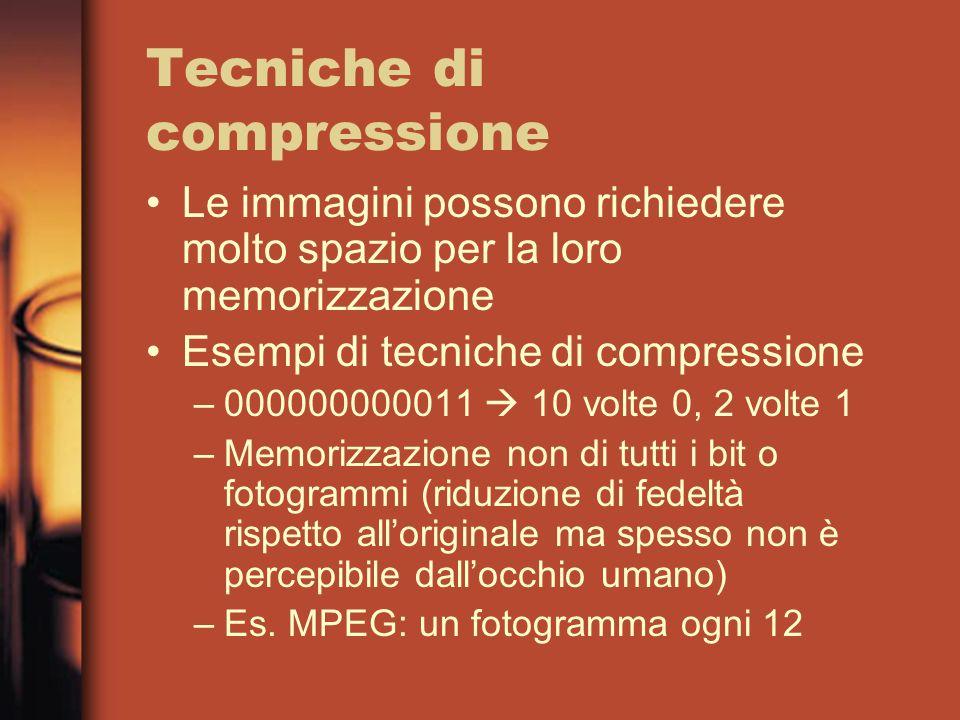 Tecniche di compressione Le immagini possono richiedere molto spazio per la loro memorizzazione Esempi di tecniche di compressione –000000000011 10 volte 0, 2 volte 1 –Memorizzazione non di tutti i bit o fotogrammi (riduzione di fedeltà rispetto alloriginale ma spesso non è percepibile dallocchio umano) –Es.