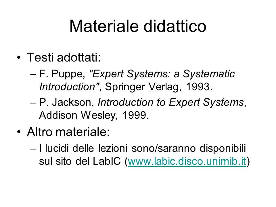 Materiale didattico Testi adottati: –F. Puppe,