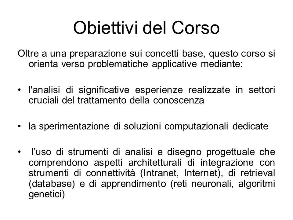 Obiettivi del Corso Oltre a una preparazione sui concetti base, questo corso si orienta verso problematiche applicative mediante: l'analisi di signifi