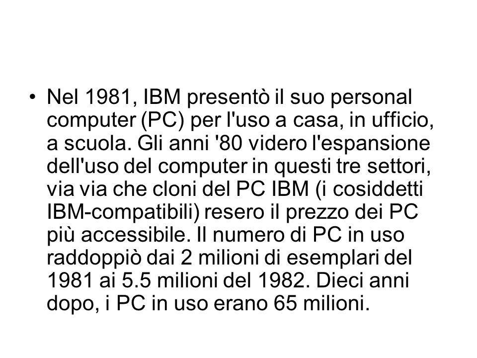 Nel 1981, IBM presentò il suo personal computer (PC) per l'uso a casa, in ufficio, a scuola. Gli anni '80 videro l'espansione dell'uso del computer in