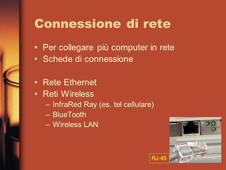 Connessione di rete Per collegare più computer in rete Schede di connessione Rete Ethernet Reti Wireless –InfraRed Ray (es. tel cellulare) –BlueTooth