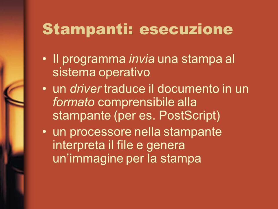Stampanti: esecuzione Il programma invia una stampa al sistema operativo un driver traduce il documento in un formato comprensibile alla stampante (pe